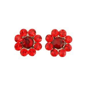 Tarina Tarantino red crystal flower earrings